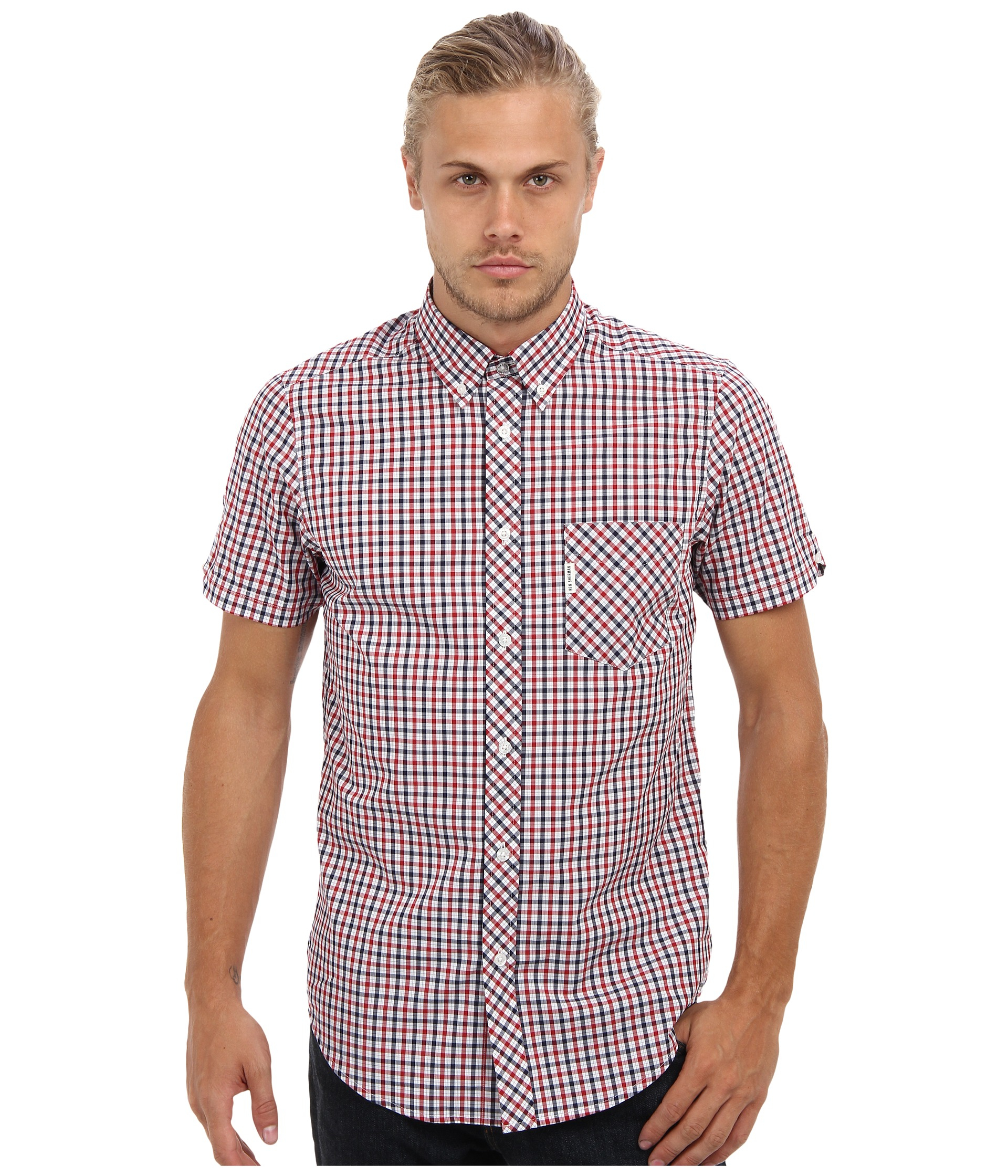 Ben Sherman Heritage House Check Ss Shirt In Blue For Men