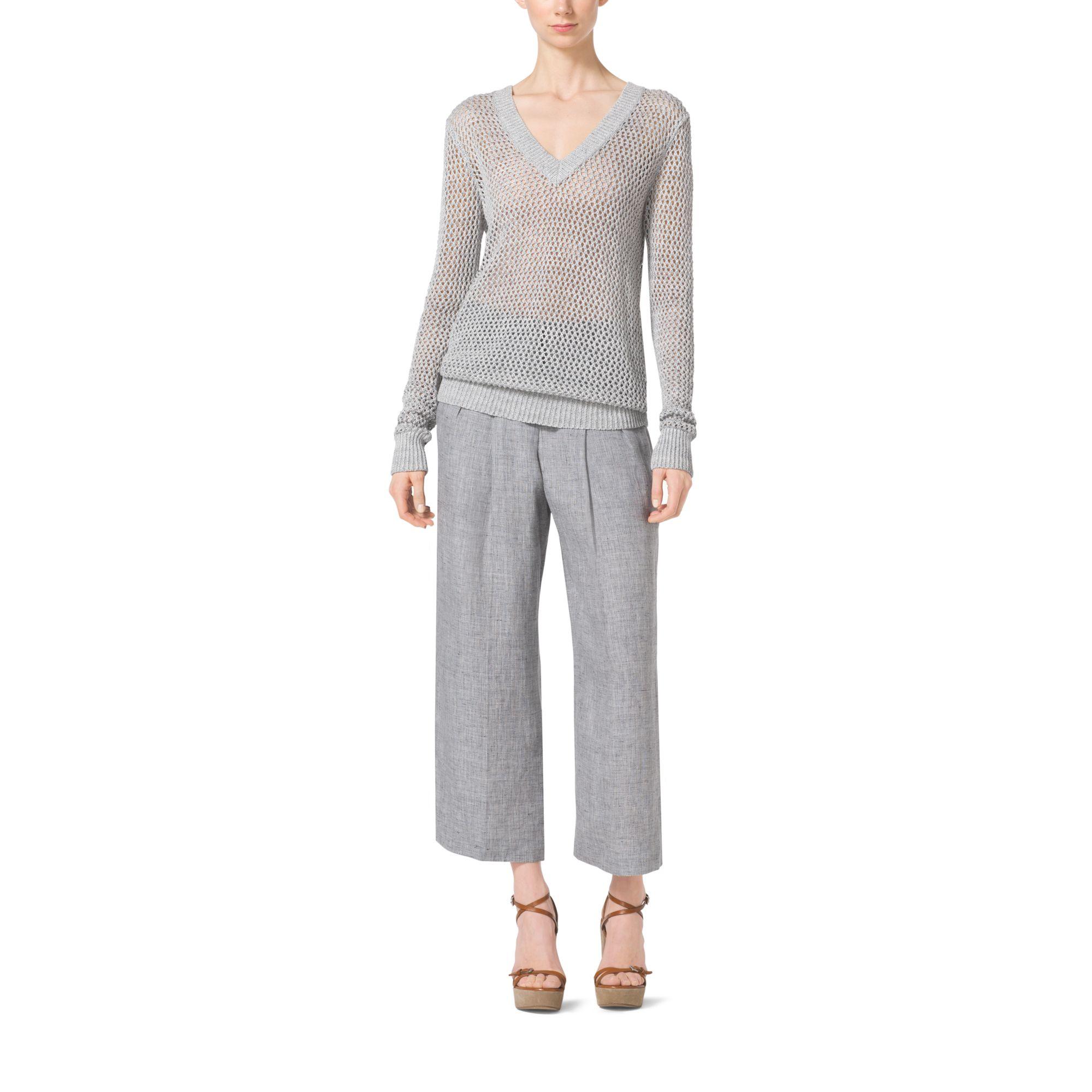 New Donna Karan Linenblend Pants In Gray  Lyst