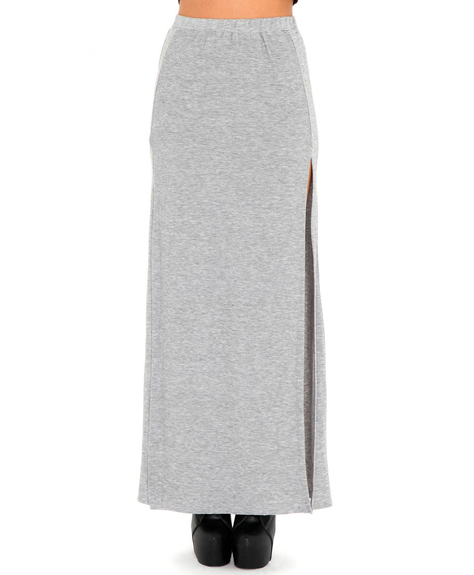 missguided madalyn split maxi skirt in grey in gray