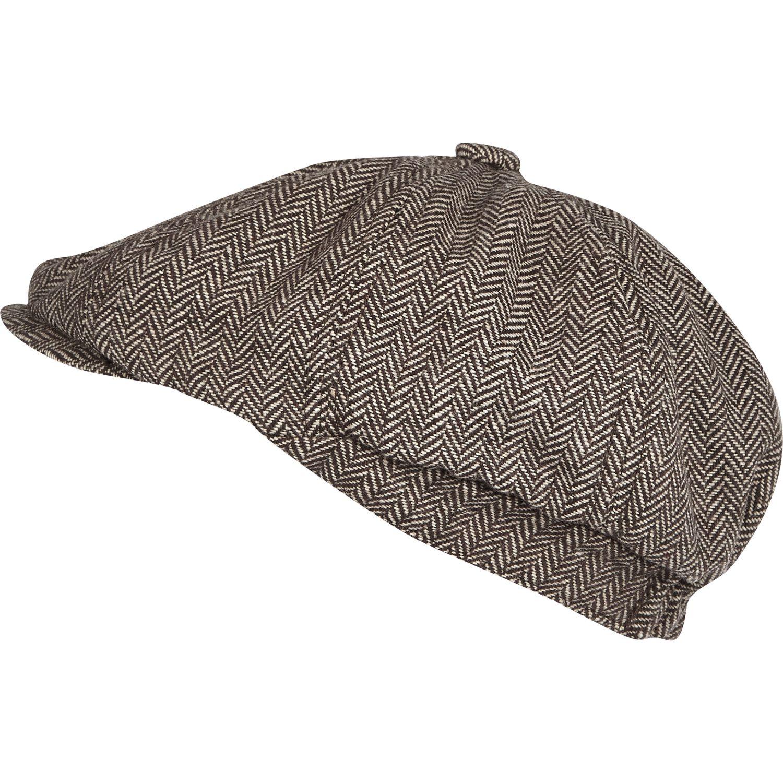 Lyst - River Island Brown Herringbone Baker Boy Hat in Brown for Men 21b42903d33