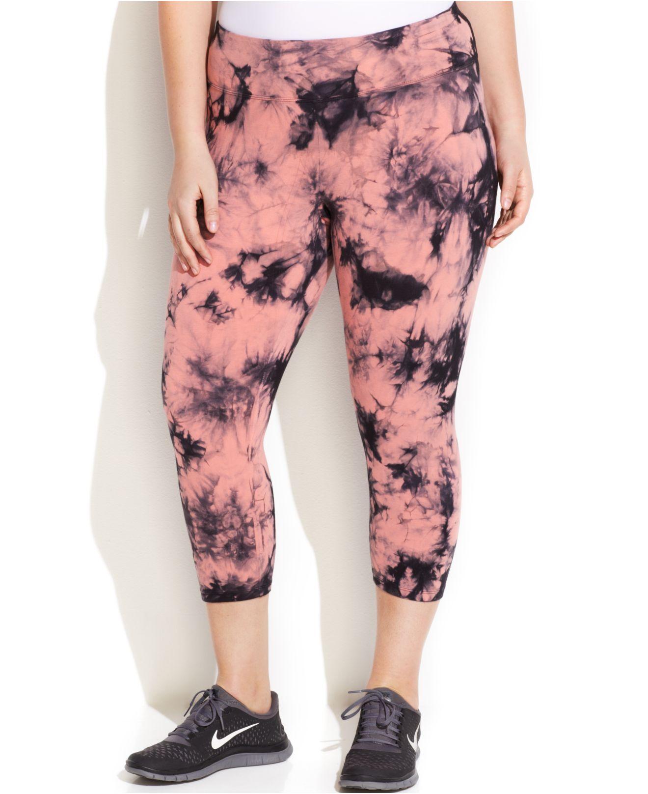 cc08e7bf03902 Lyst - Calvin Klein Performance Plus Size Tie-Dye Capri Leggings in Pink
