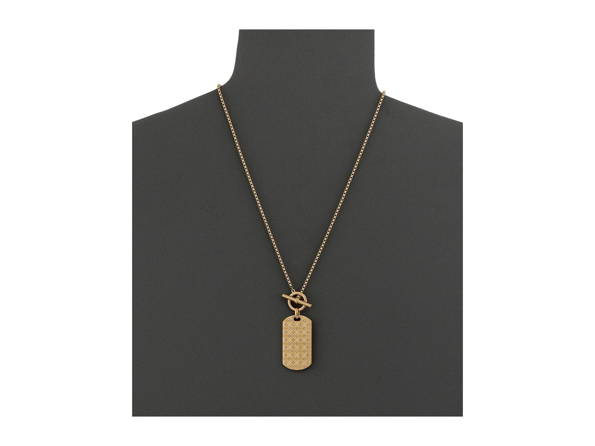 michael kors monogram dogtag pendant in gold lyst. Black Bedroom Furniture Sets. Home Design Ideas