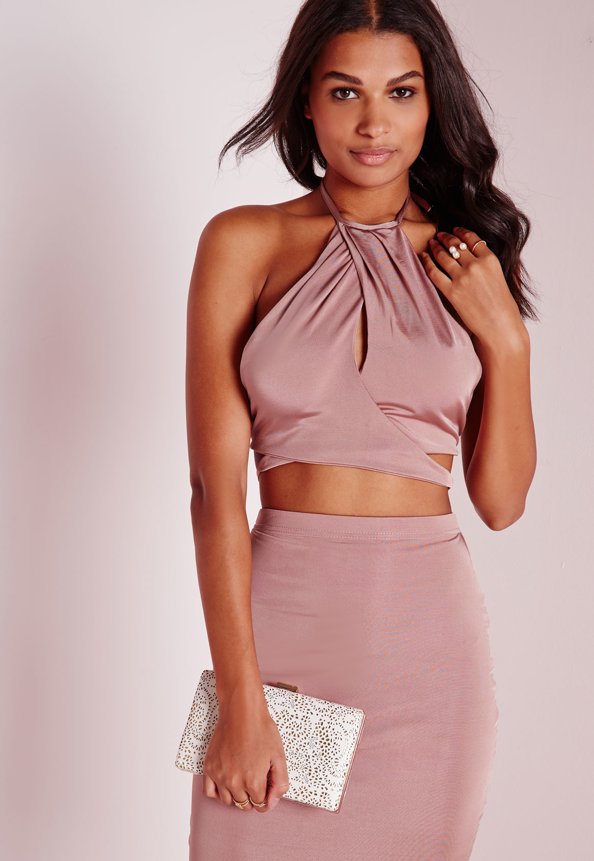3716a1a826f638 Lyst - Missguided Slinky High Neck Keyhole Wrap Front Crop Top Pink ...