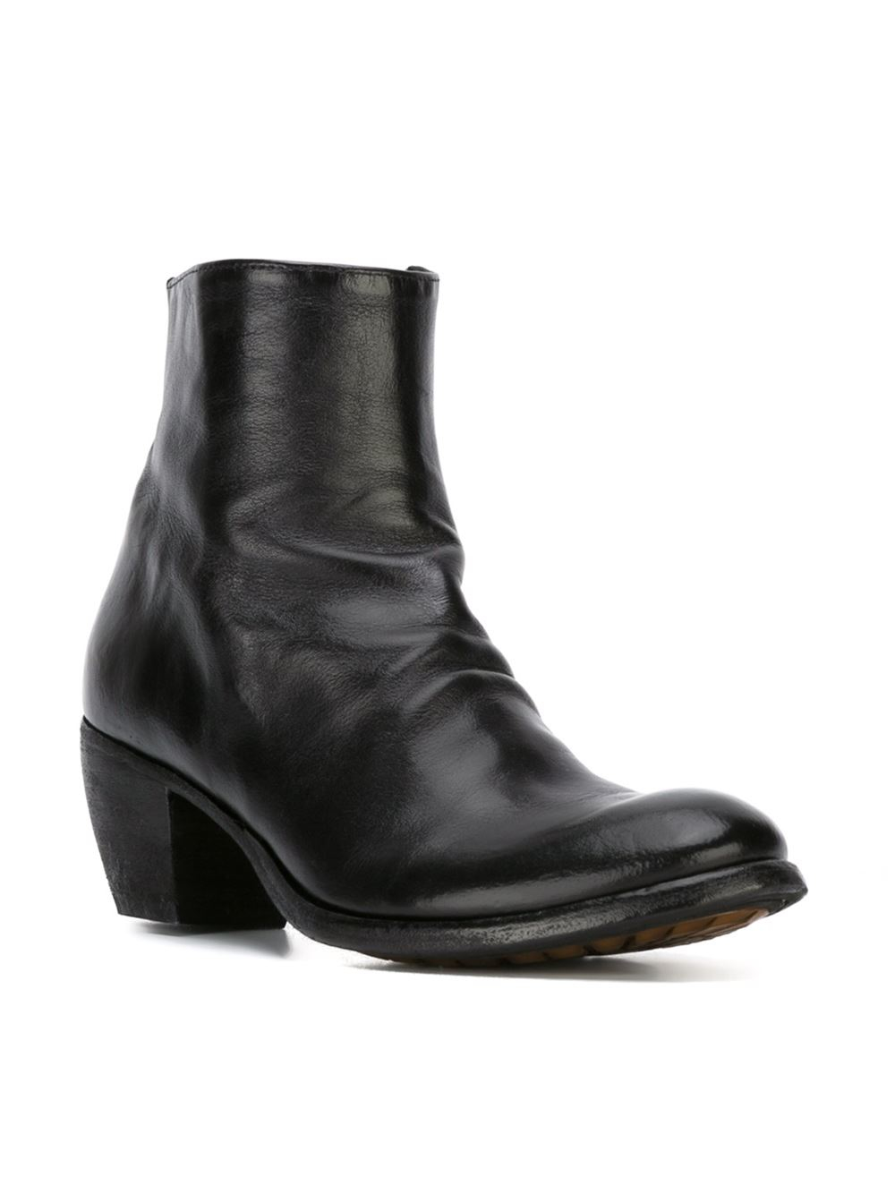 Simple Officine Creative Black Leather Ankle Boots In Black (Marrone)   Lyst