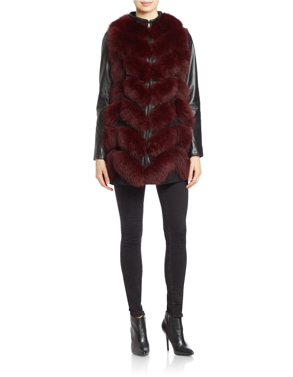 ea04ab7c5a4 Lyst - Badgley mischka Leather-sleeve Fox Fur Coat in Purple