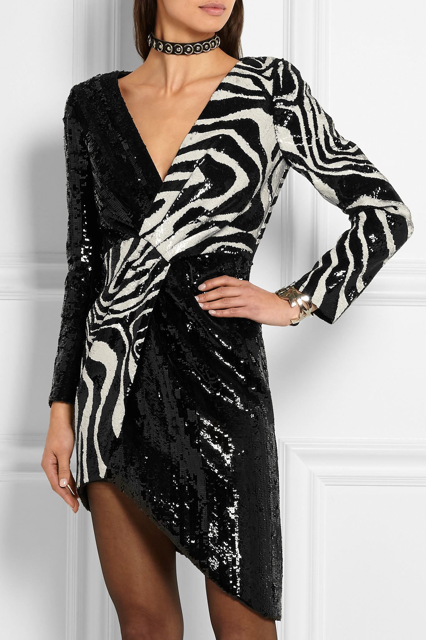 Saint Laurent Asymmetric Zebra Print Sequined Wool Mini