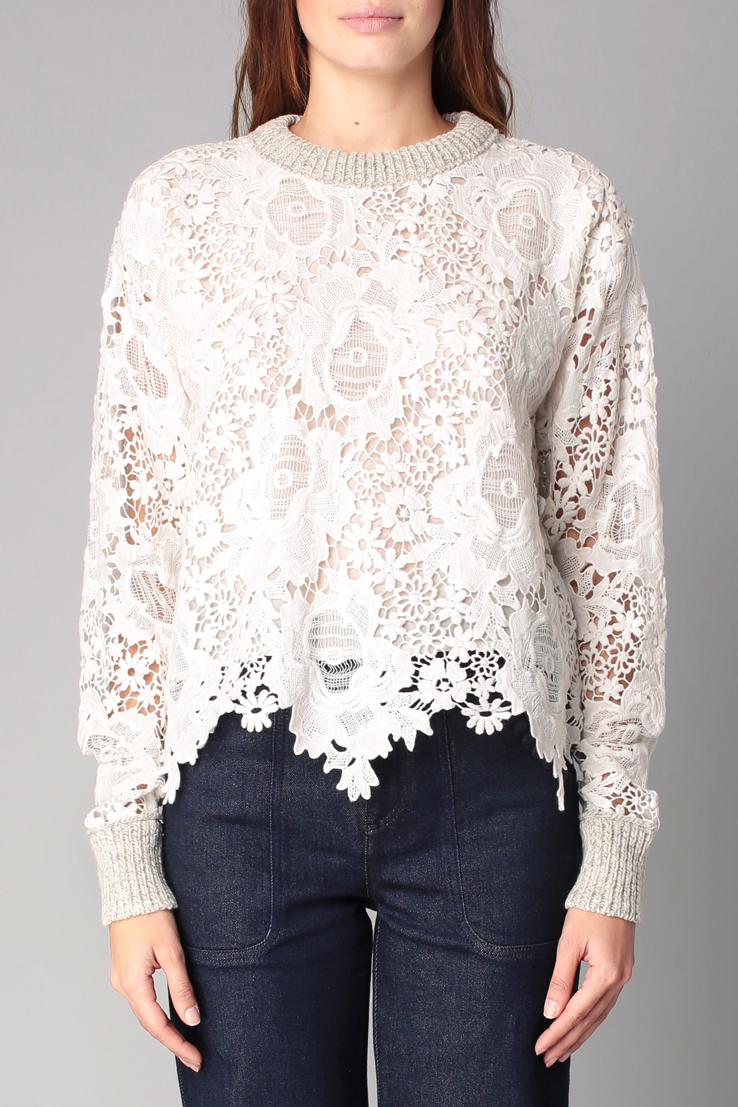 choloe handbags - See by chlo�� Floral Lace Front Wool Sweater in White (White,Multi ...