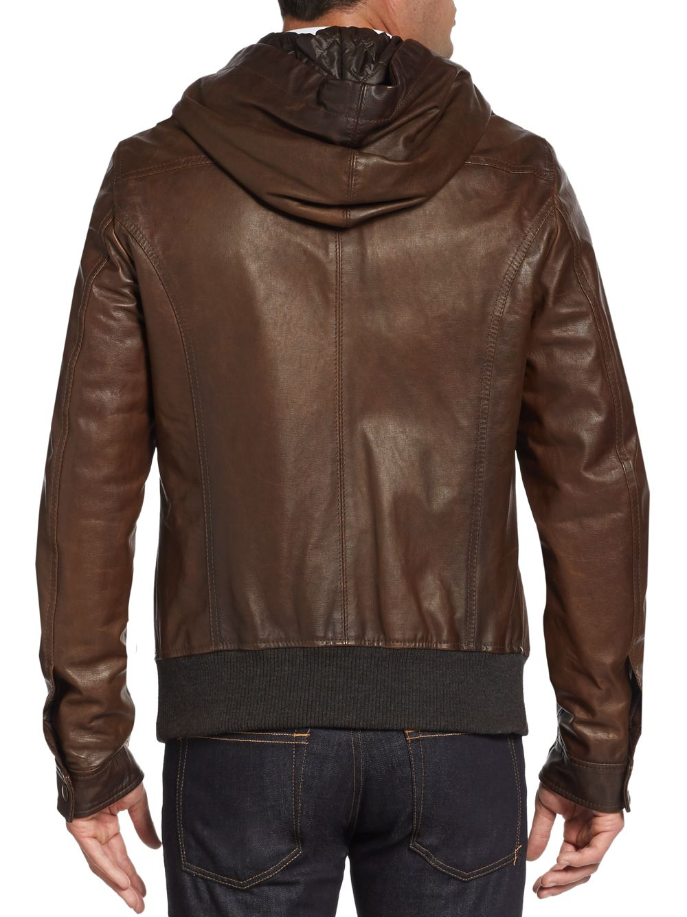 Dolce & gabbana Hooded Leather Bomber Jacket in Brown for Men | Lyst