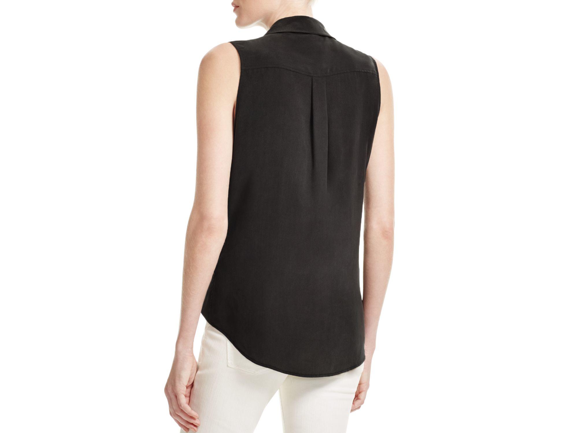 Equipment sleeveless slim signature silk shirt in black lyst for Equipment black silk shirt