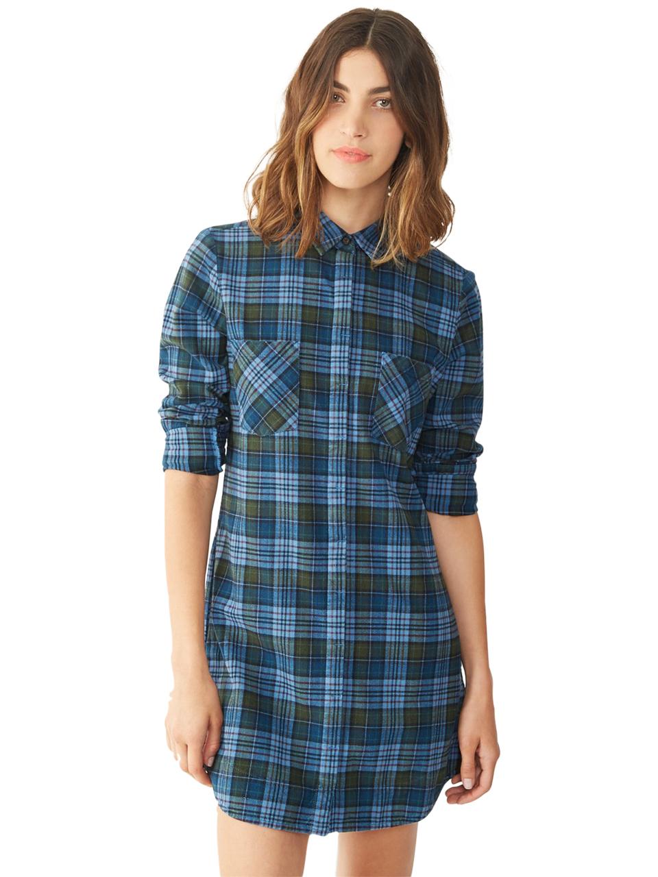 Lyst - Alternative Apparel Flannel Shirt Dress in Gray