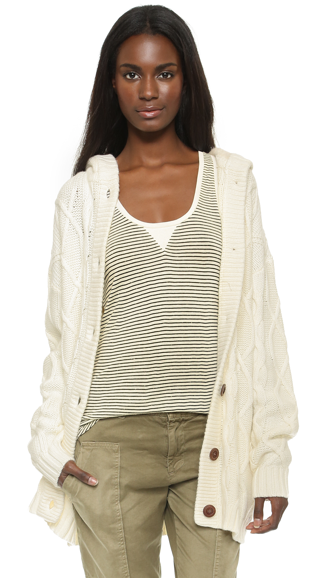 Banjo & matilda Cable Hooded Sweater - Ivory in Natural   Lyst