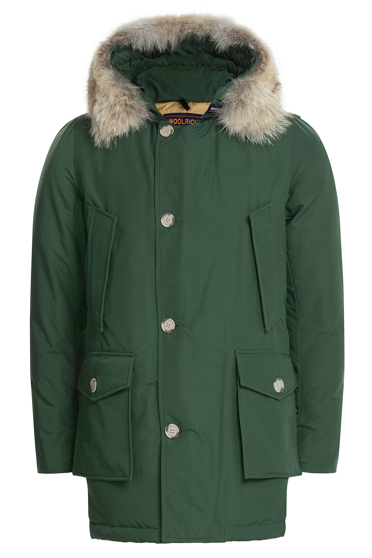 woolrich arctic down parka with fur trimmed hood green in green for men lyst. Black Bedroom Furniture Sets. Home Design Ideas