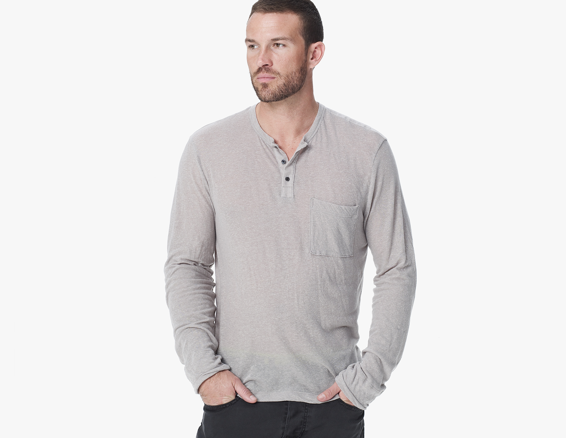 James perse pocket henley in khaki for men lyst for James perse henley shirt