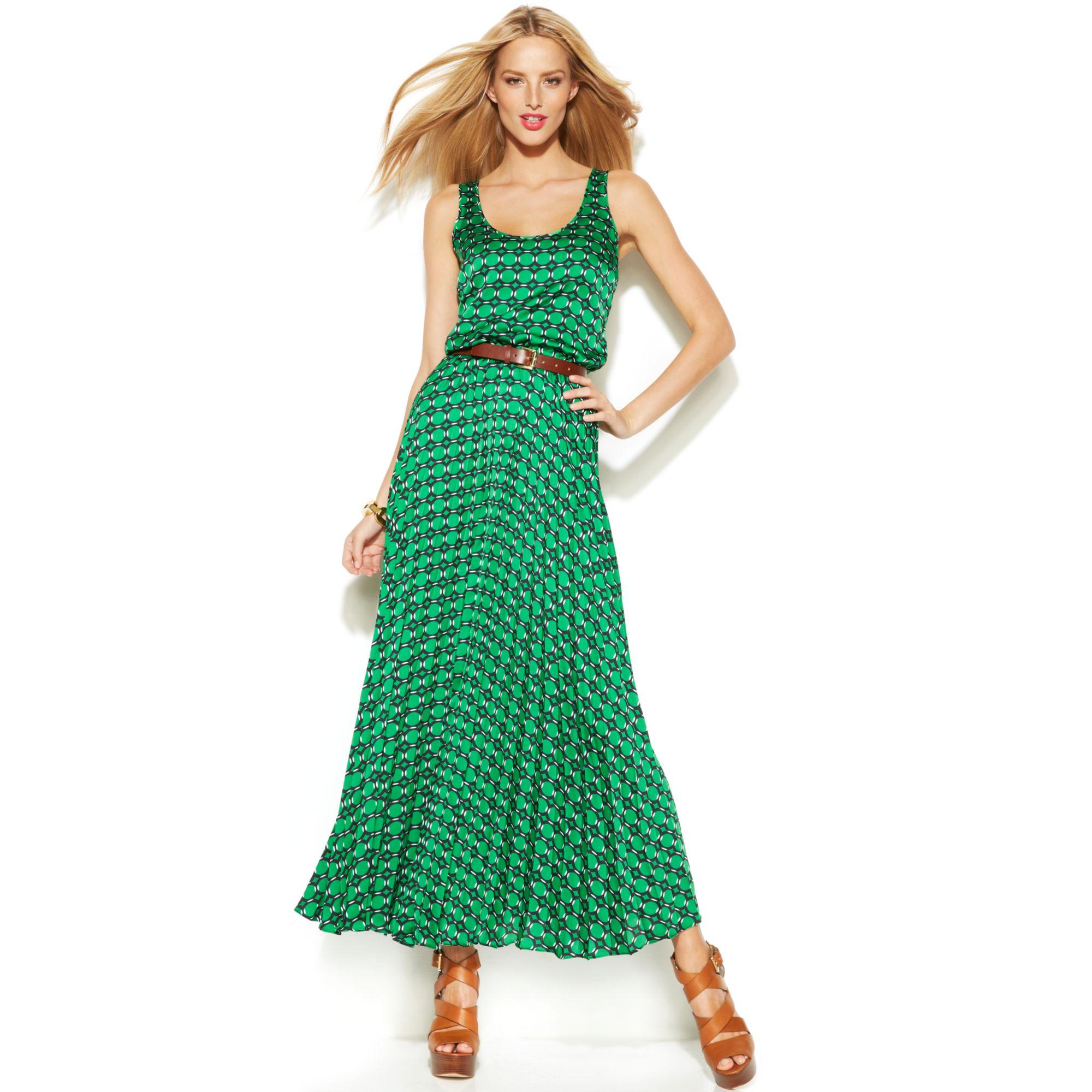 12ecb473032 Michael Kors Michael Sleeveless Printed Belted Maxi Dress in Green ...