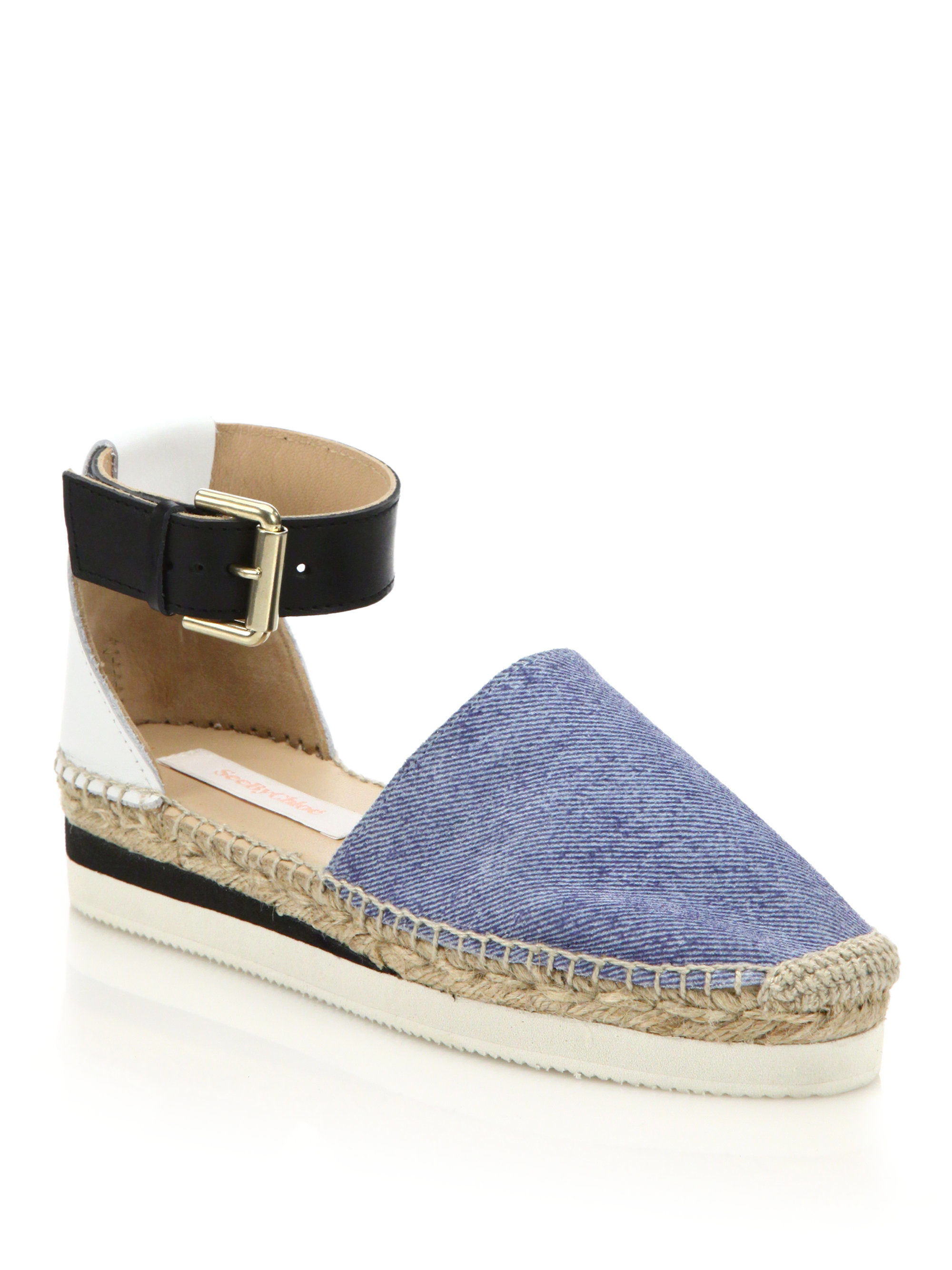 bd77afca751 See By Chloé Blue Glyn Chambray Ankle-strap Platform Espadrilles