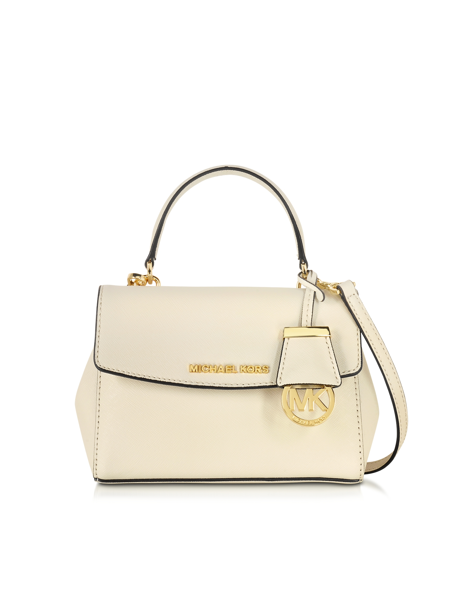 eac707971418 Lyst - Michael Kors Ava Ecru Saffiano Leather Extra Small Crossbody ...