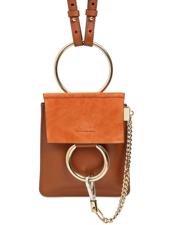 e3853065 Chloé Brown Mini Faye Leather & Suede Shoulder Bag