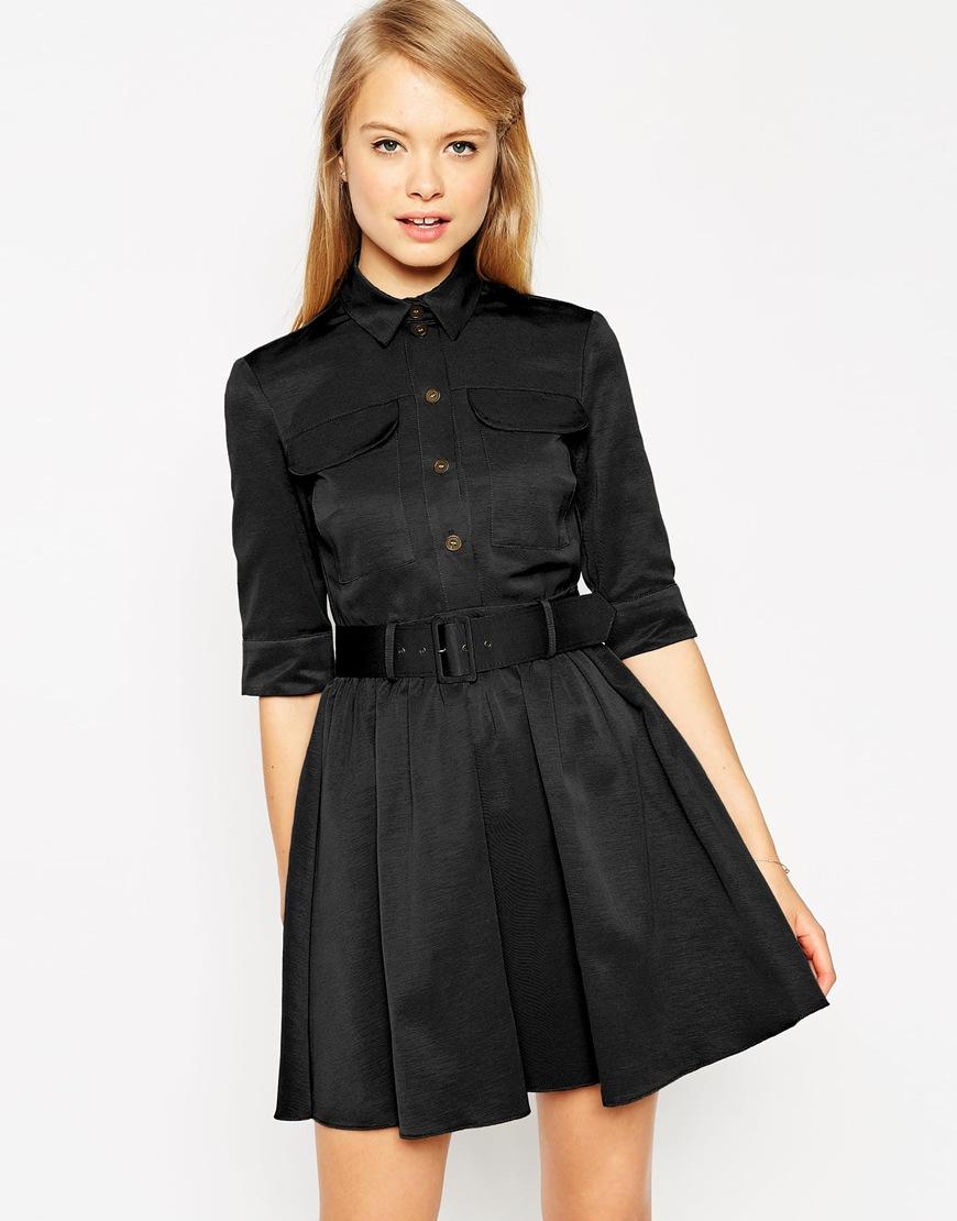 asos belted skater dress in black lyst