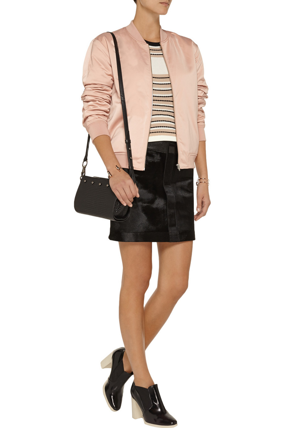 038888ead T By Alexander Wang Pink Padded Satin Bomber Jacket