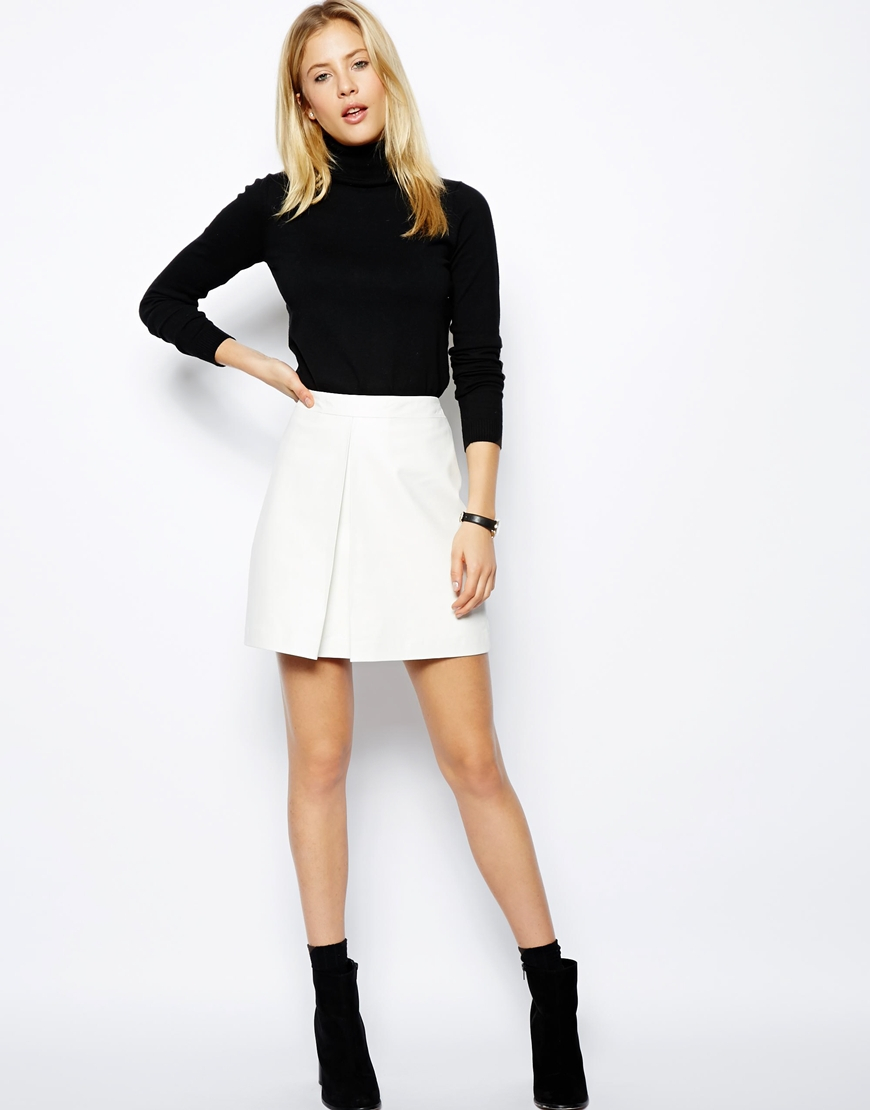 Asos A-line Leather Skirt With Pleat in White | Lyst