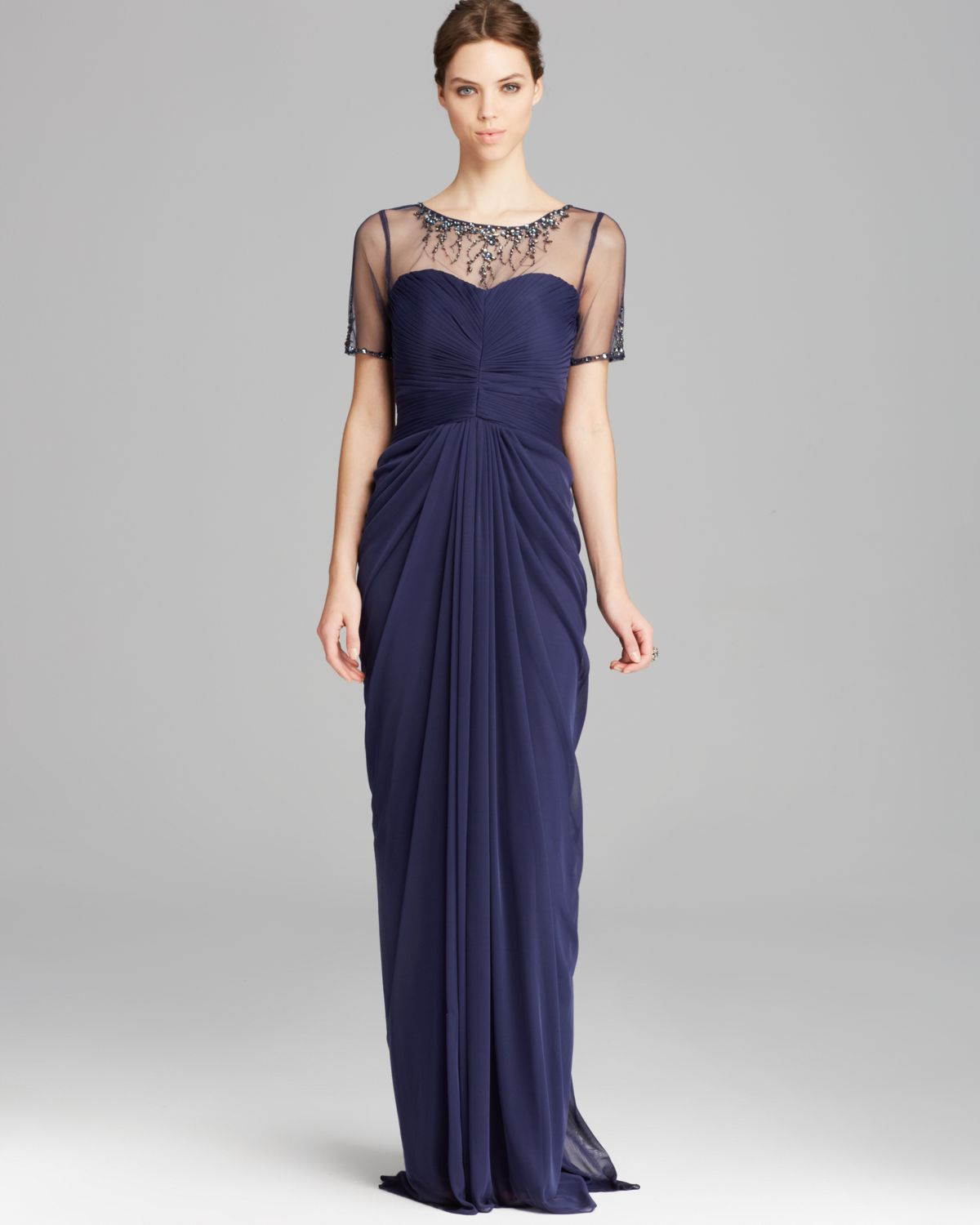 Lyst Adrianna Papell Gown Short Sleeve Illusion Neckline