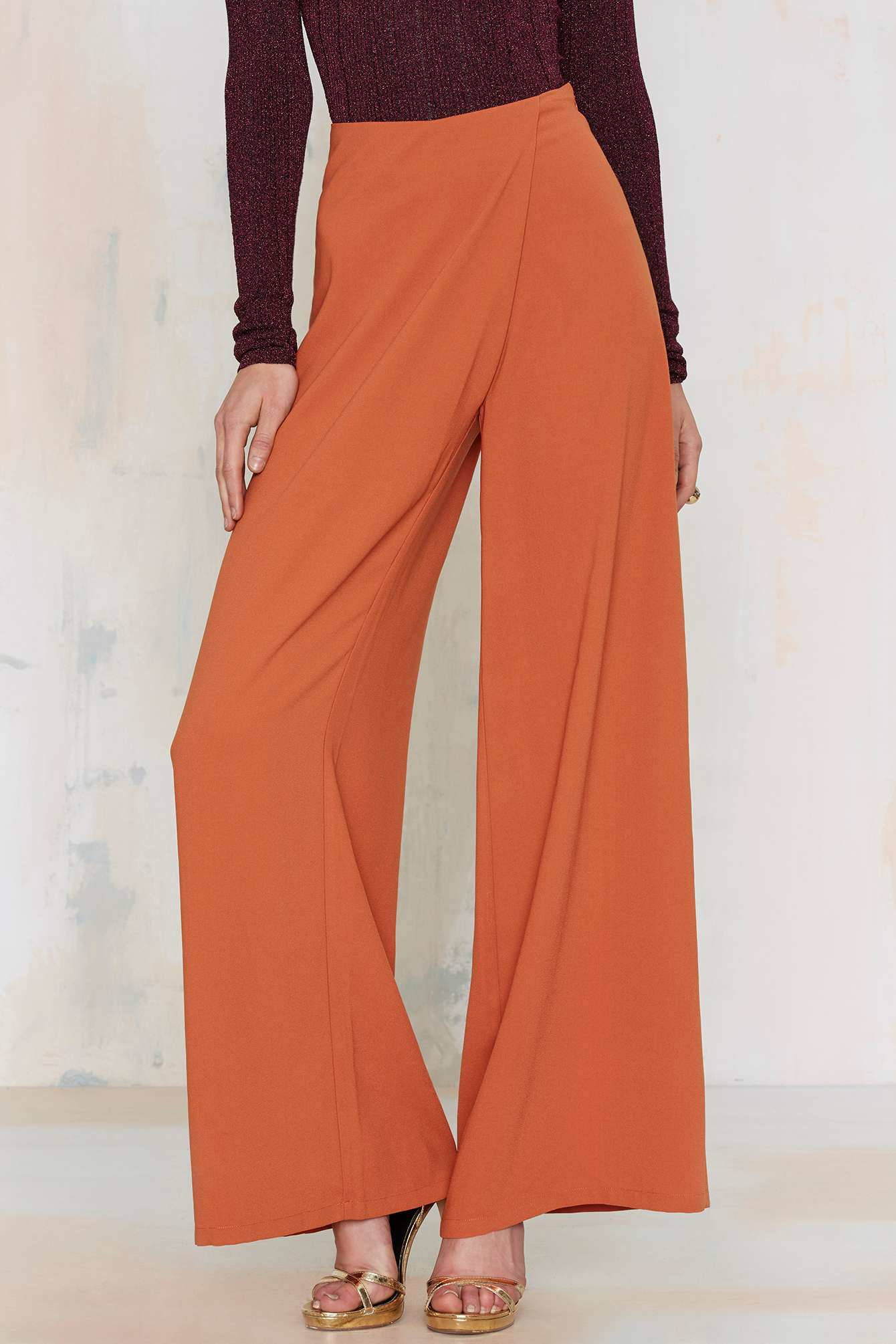 Nasty gal Totally Floored Wide Leg Pant in Orange | Lyst