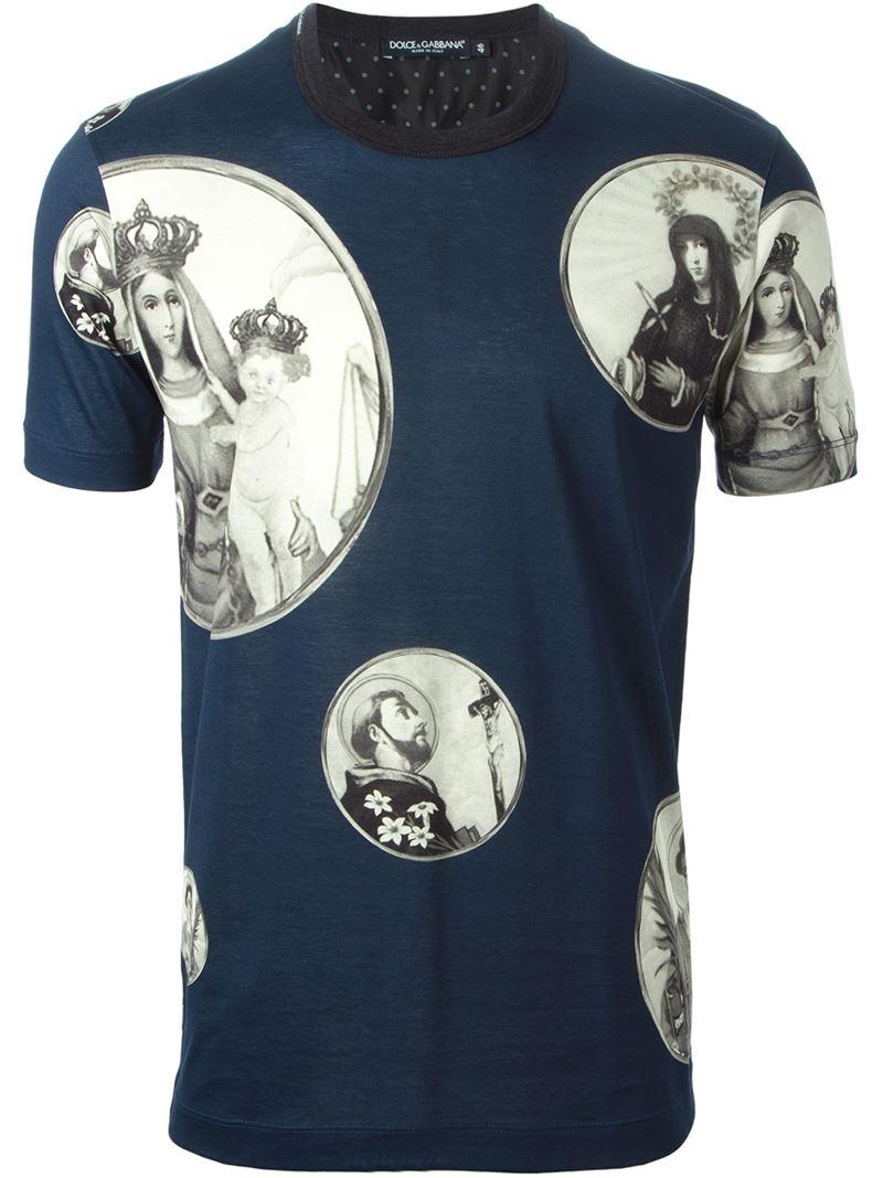 lyst dolce gabbana saint bubble print cotton t shirt in blue for men. Black Bedroom Furniture Sets. Home Design Ideas