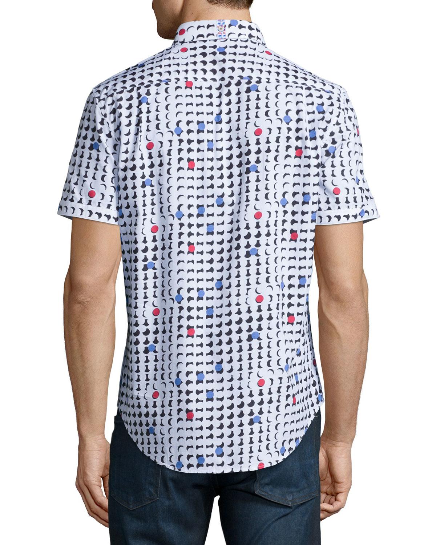 robert graham geo print short sleeve woven shirt for men