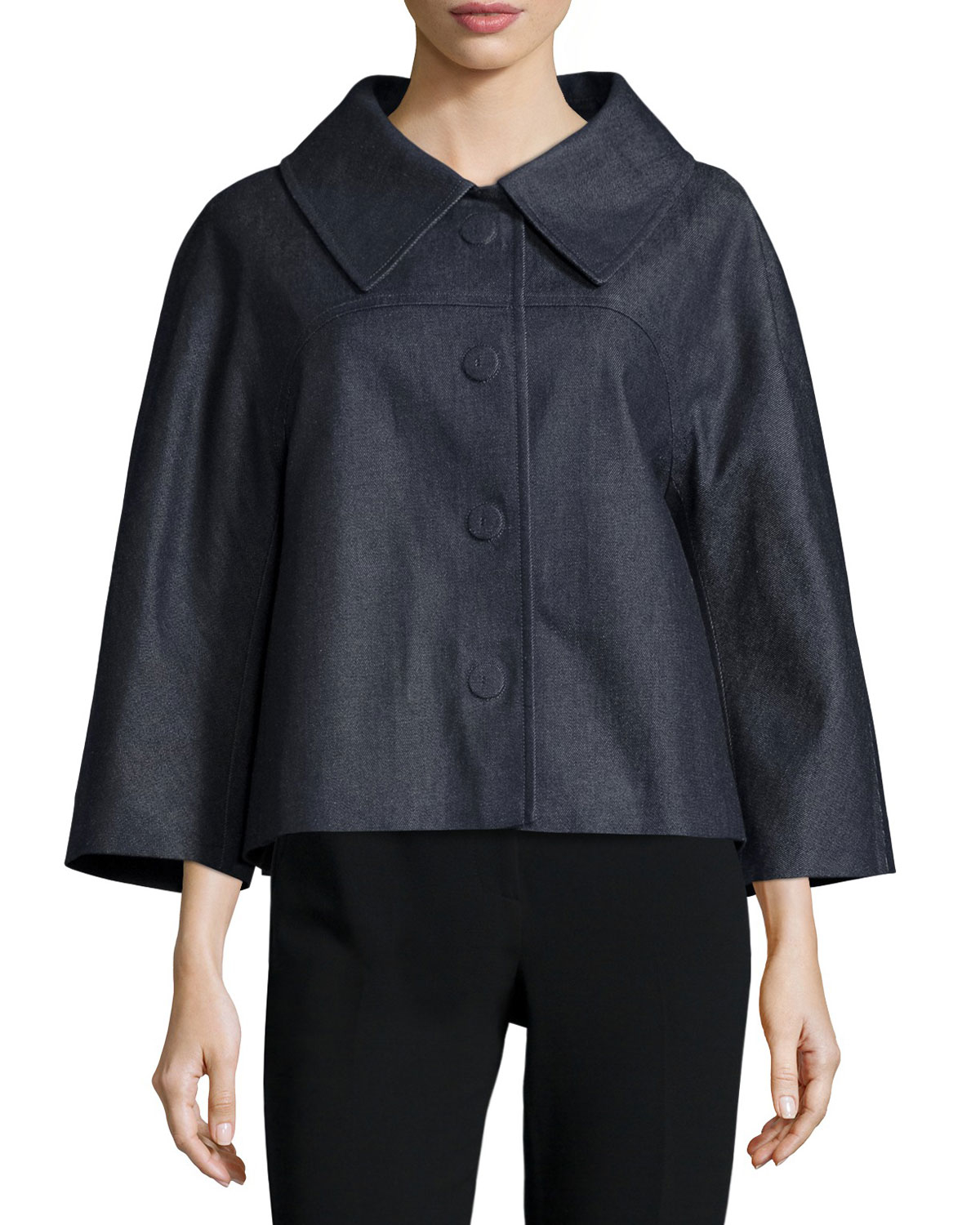 Michael kors 3/4-sleeve Short Boxy Jacket in Blue | Lyst
