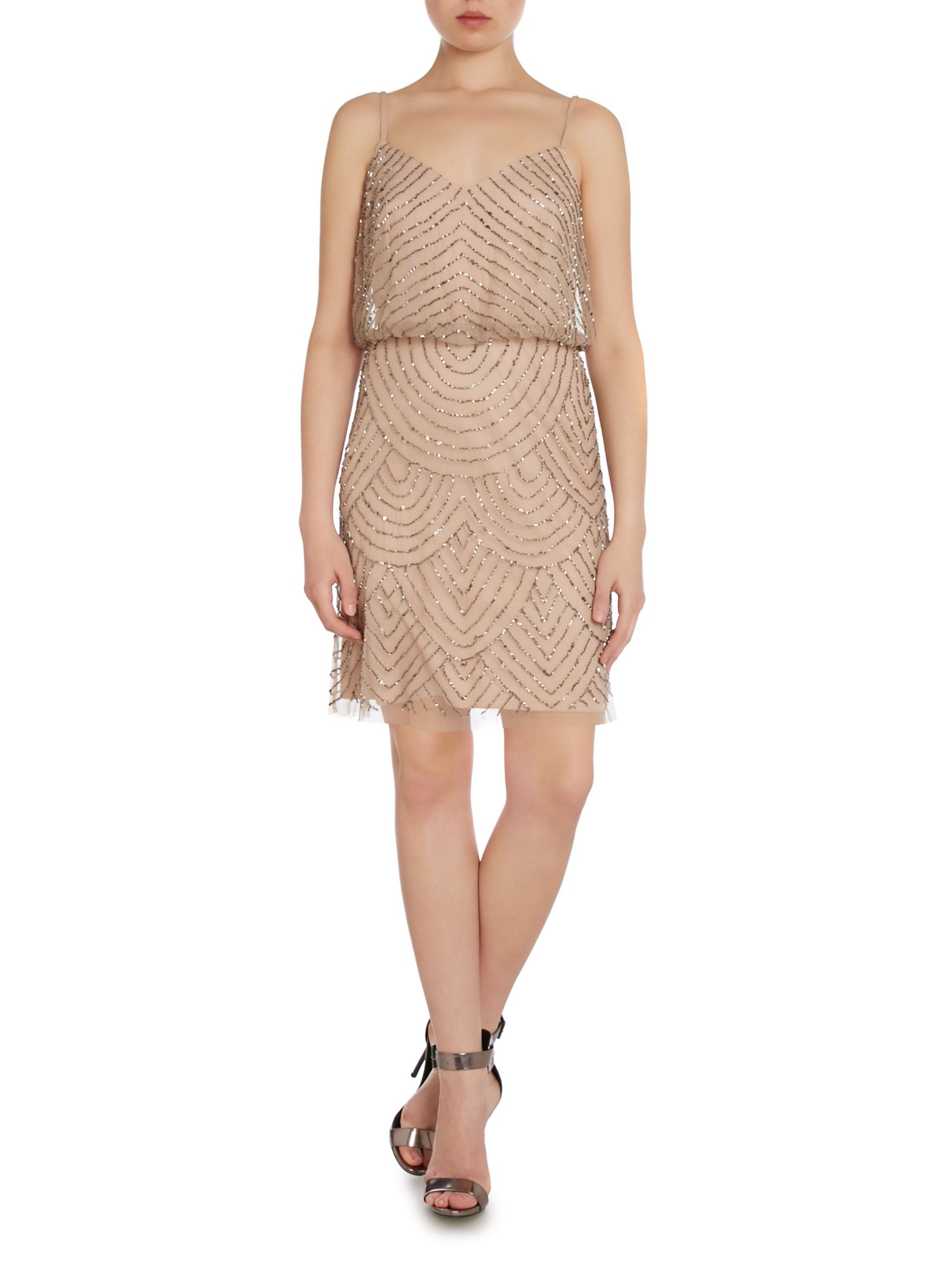 Adrianna papell art deco beaded short dress in brown lyst - Deco toiletten taupe ...