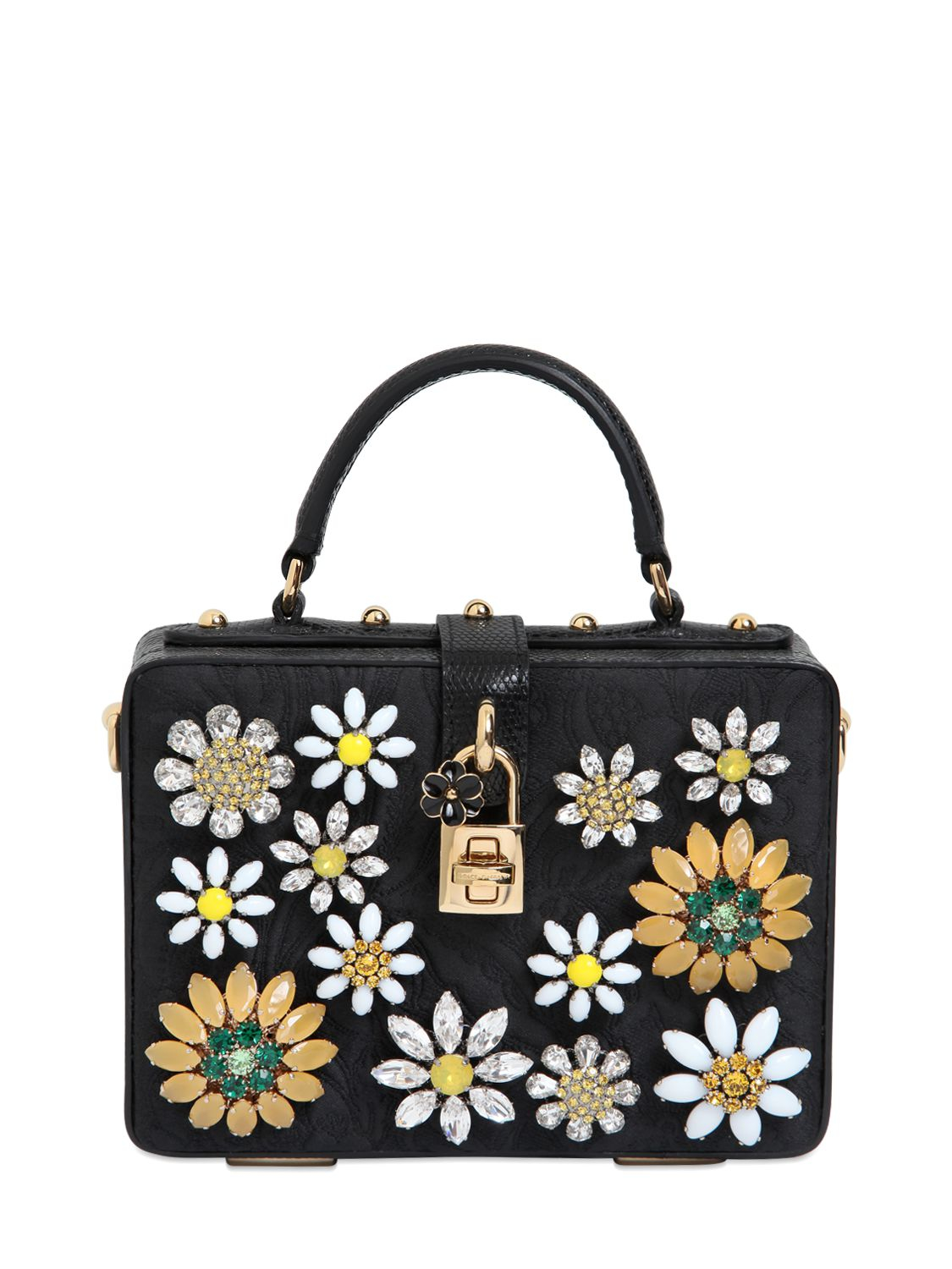 Lyst - Dolce   Gabbana Crystal Flowers Brocade Dolce Bag in Black 6d055ae301708