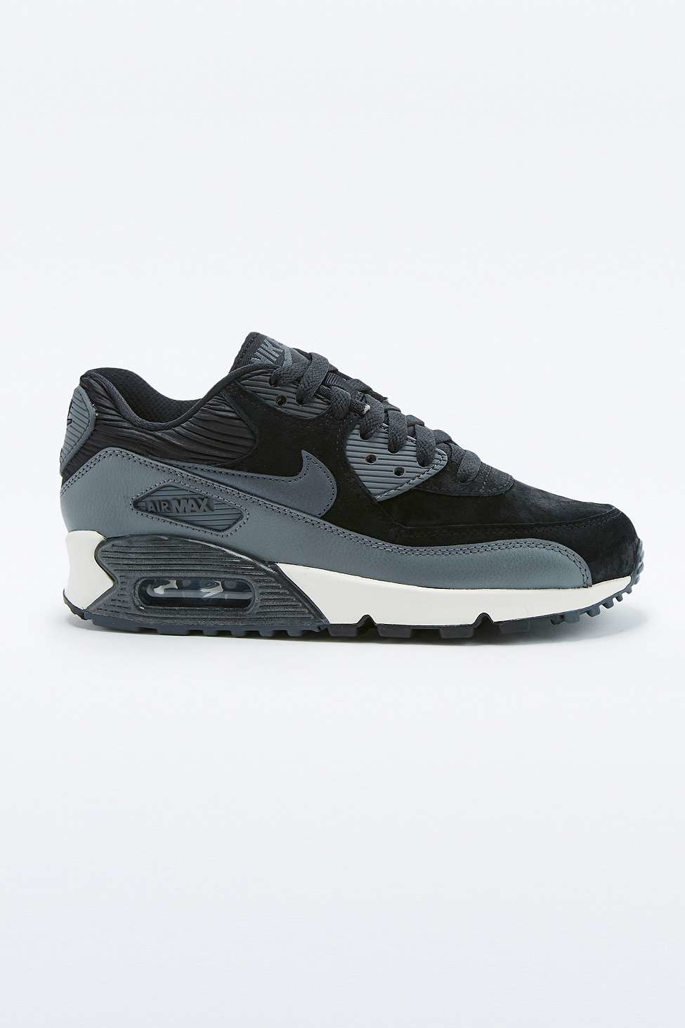 nike air max 90 black leather trainers in black lyst. Black Bedroom Furniture Sets. Home Design Ideas