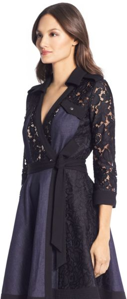 Dvf Amelia Lace Combo Wrap Dress Denim and Lace Wrap Dress