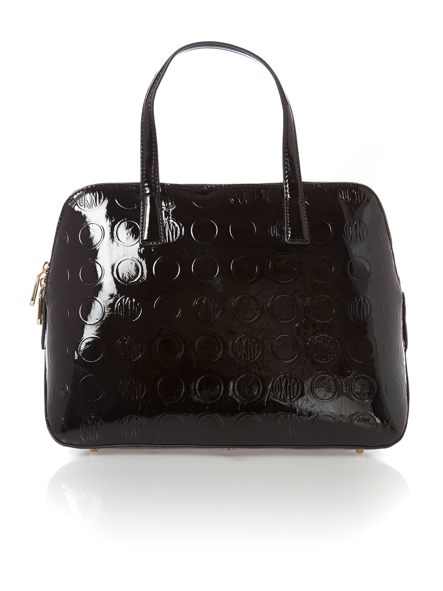 lyst dkny patent coin black rounded satchel with detail