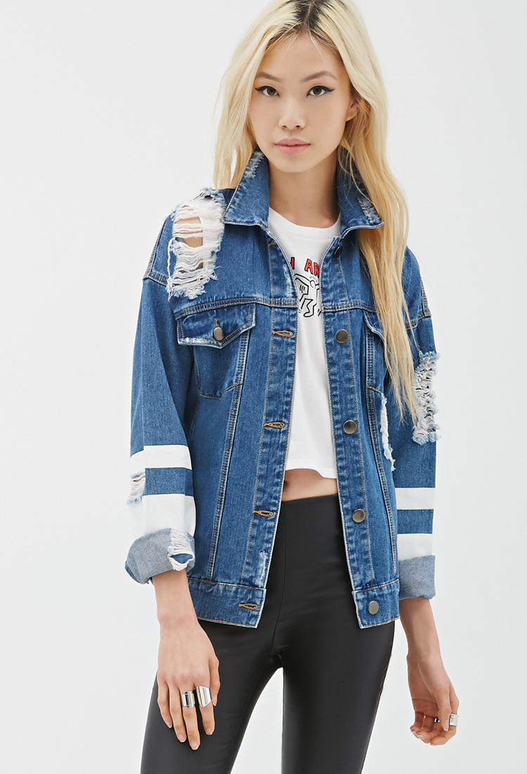 9caa81f2a Forever 21 Distressed Denim Jacket in Blue - Lyst