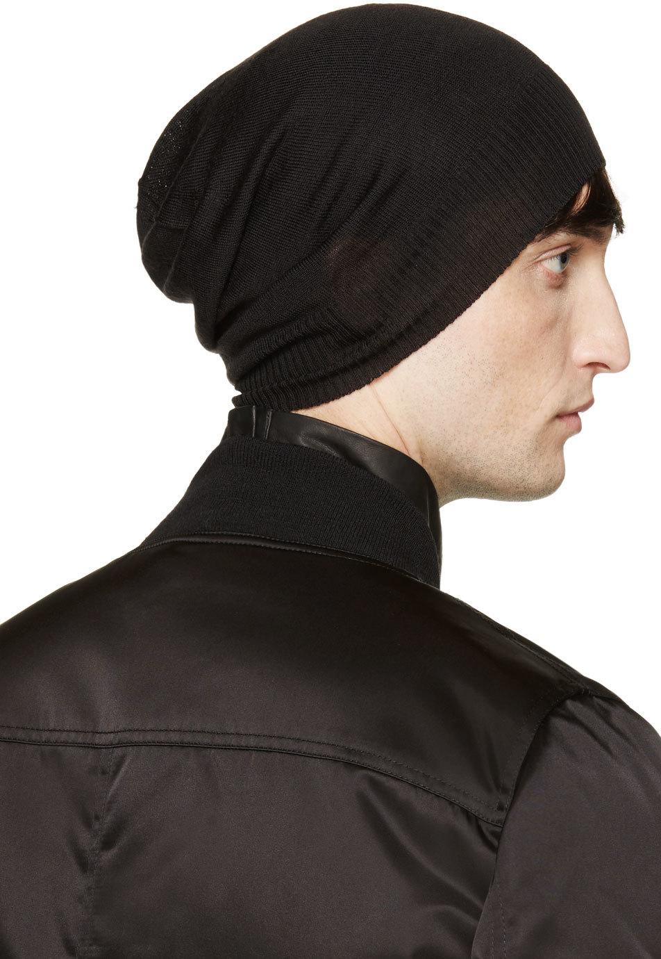 fine knit beanie - Black Rick Owens FlhEAOQZ