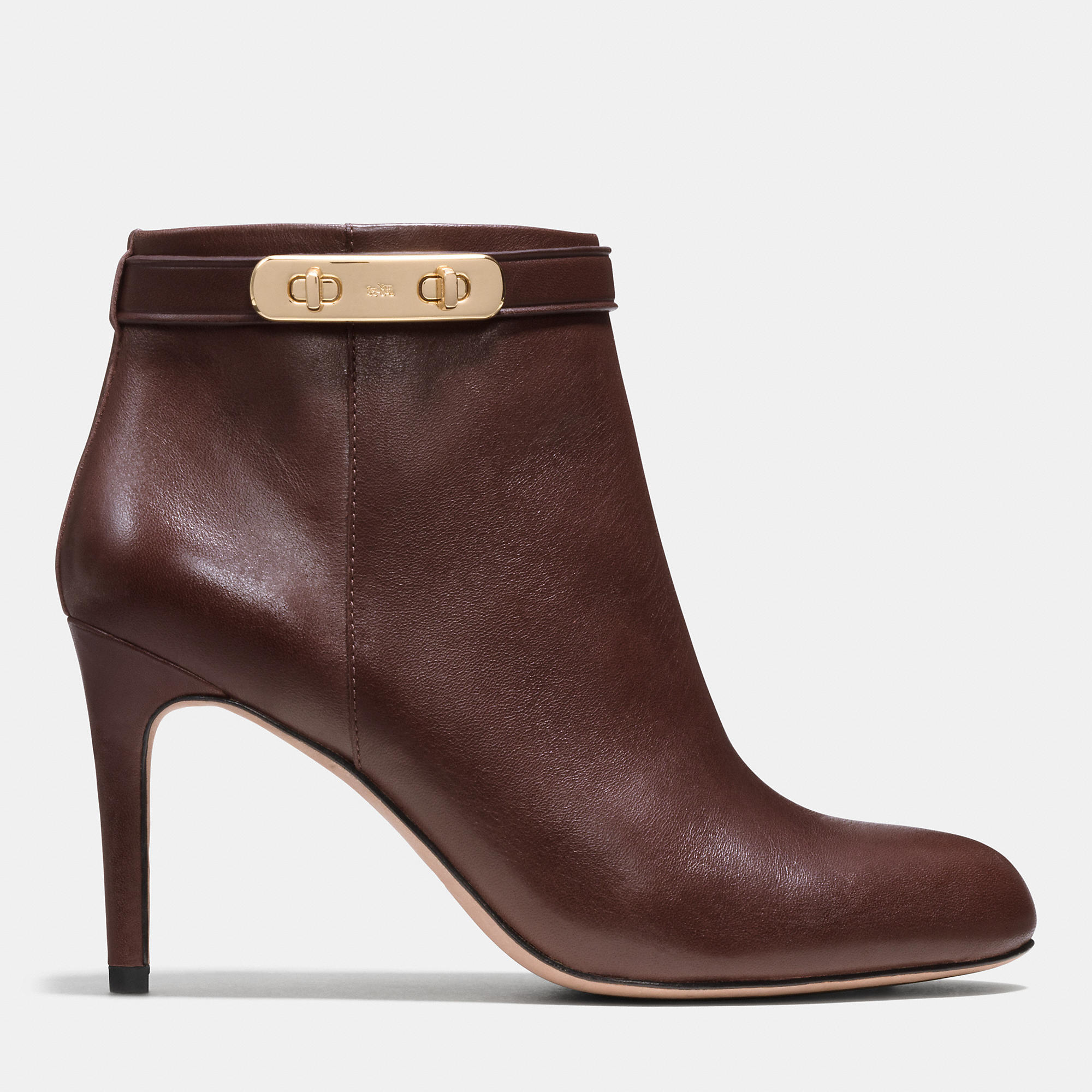 Coach Regina Leather Ankle Boots In Brown Chestnut Lyst