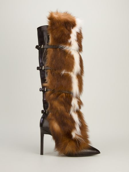 Roberto Cavalli Fox Fur Trimmed Boot In Brown Lyst