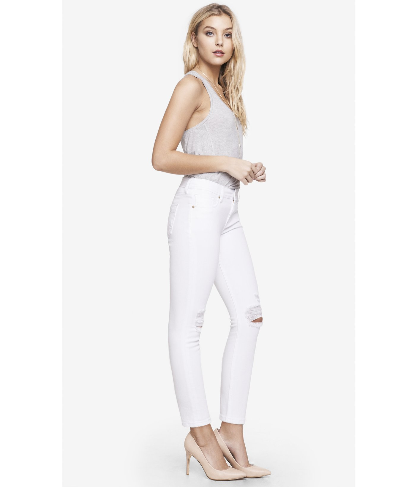 Express Mid Rise Destroyed Cropped White Jean Legging in White | Lyst
