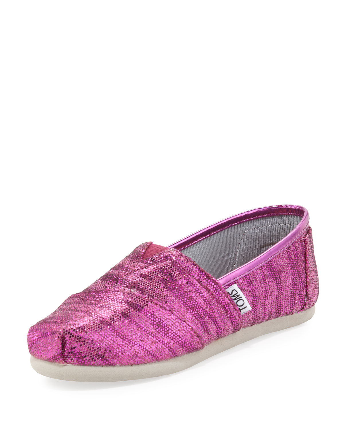 toms youth zebraglitter slipon shoes pink in pink lyst