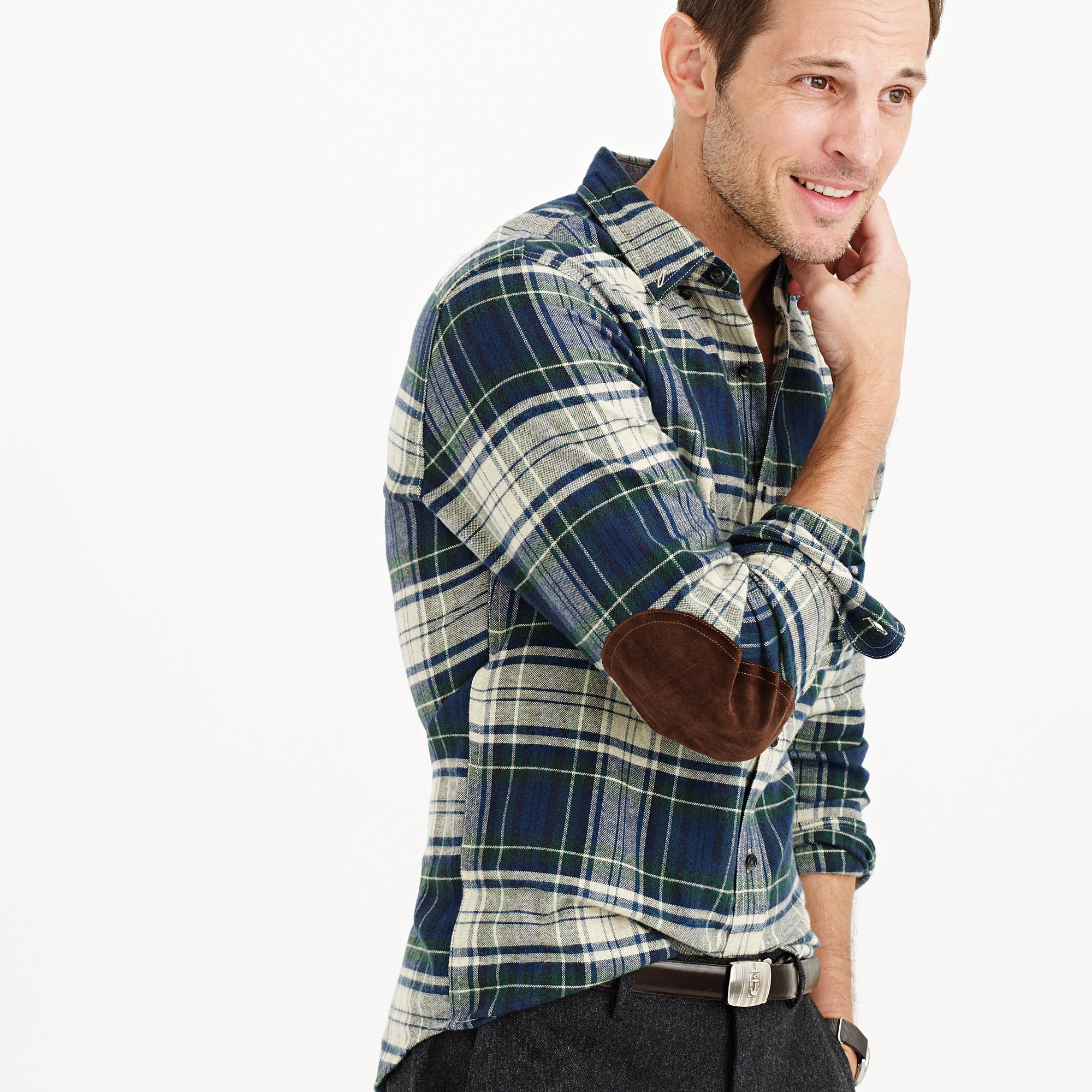 J crew cotton wool elbow patch shirt in midnight plaid
