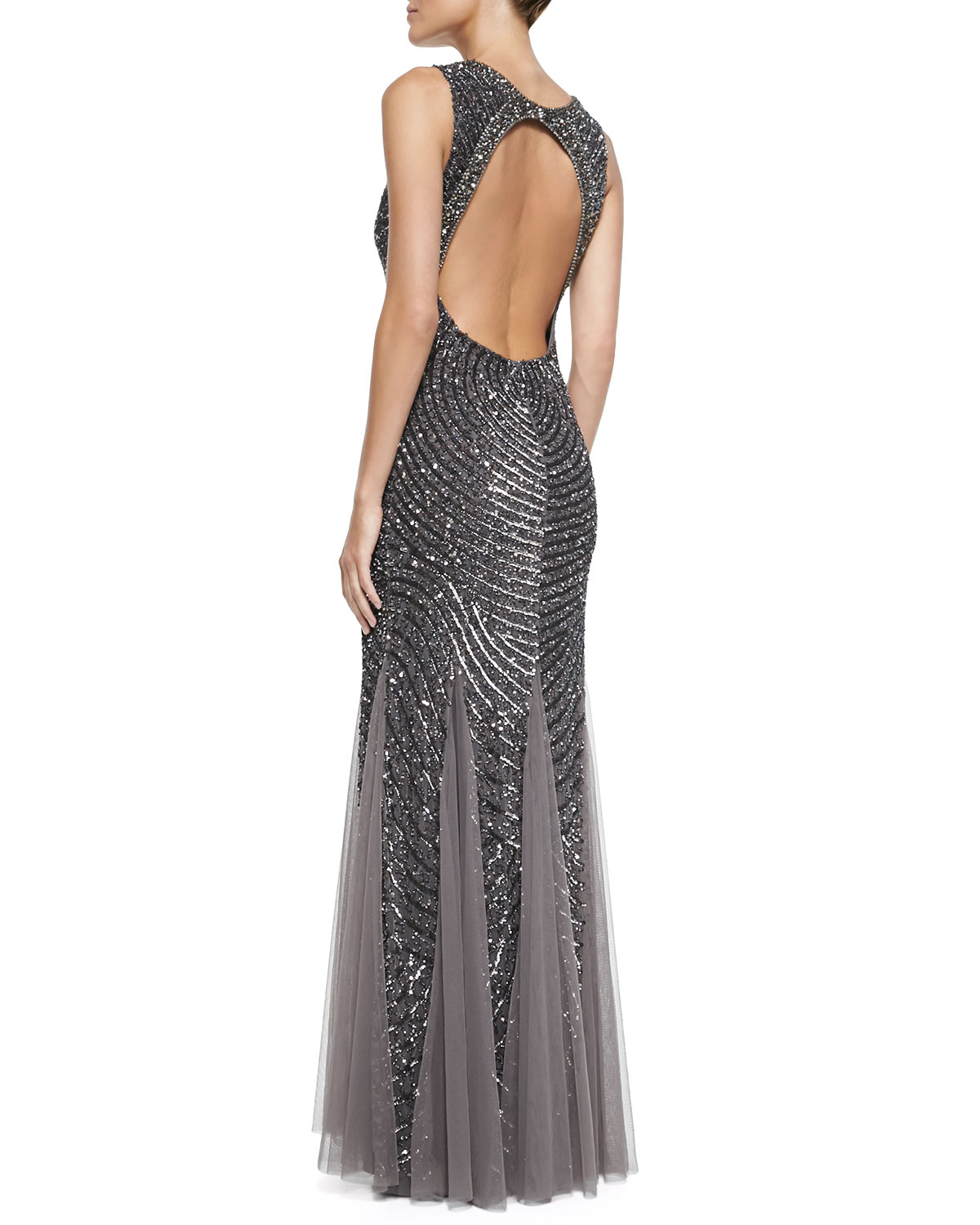 Lyst - Aidan Mattox Sleeveless Beaded Gown W/ Cutout Back in Gray