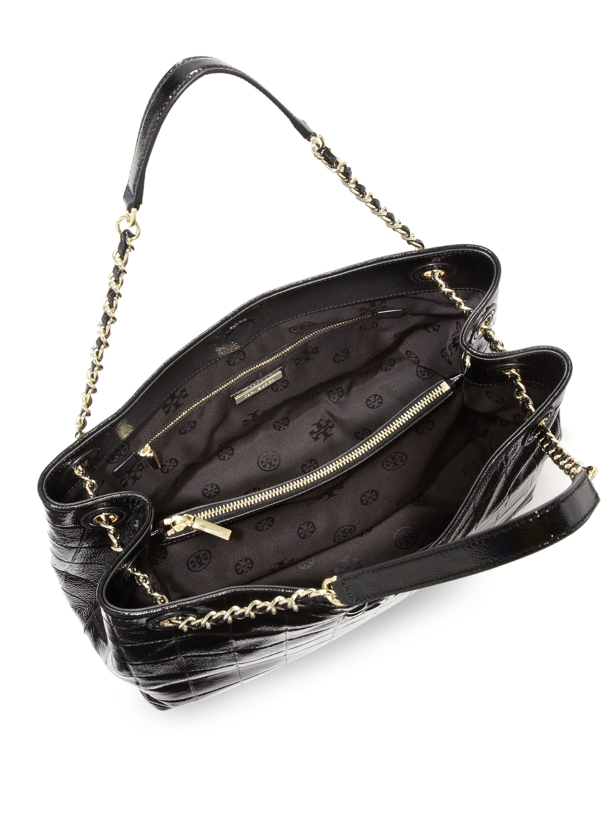 f5f1fbe62a8 Lyst - Tory Burch Marion Quilted Patent Leather Chain Shoulder Bag ...