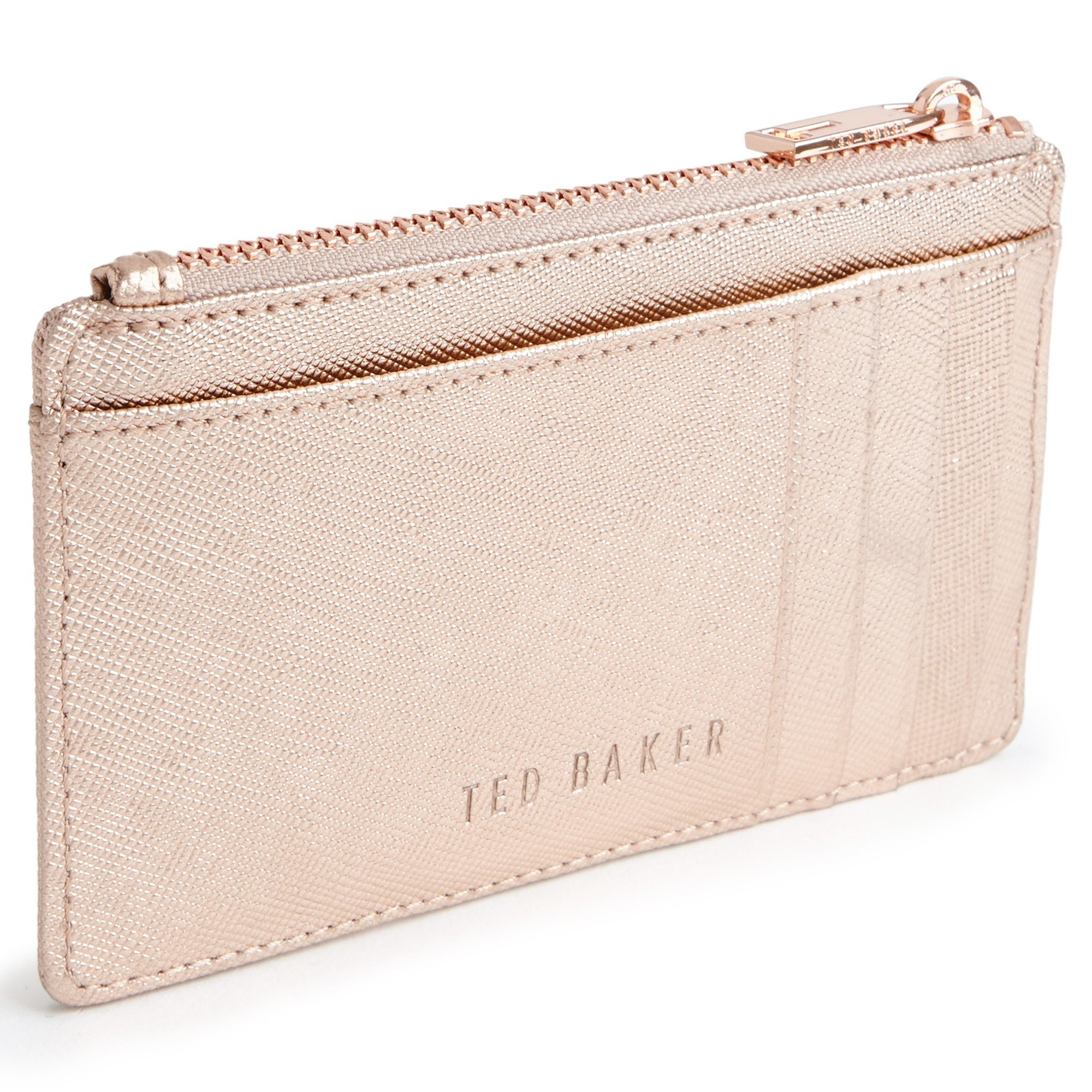 fad512af620a69 Ted Baker Crosshatch Leather Metallic Coin Purse In Pink Lyst