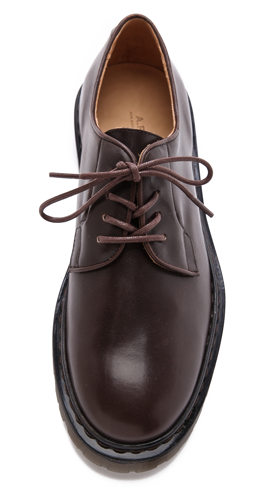 a p c leather derby shoes in brown for lyst