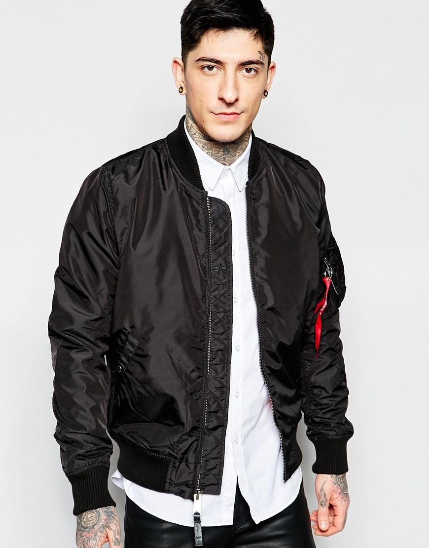 Alpha industries Ma1 Bomber Jacket Slim Fit In Black in Black for ...