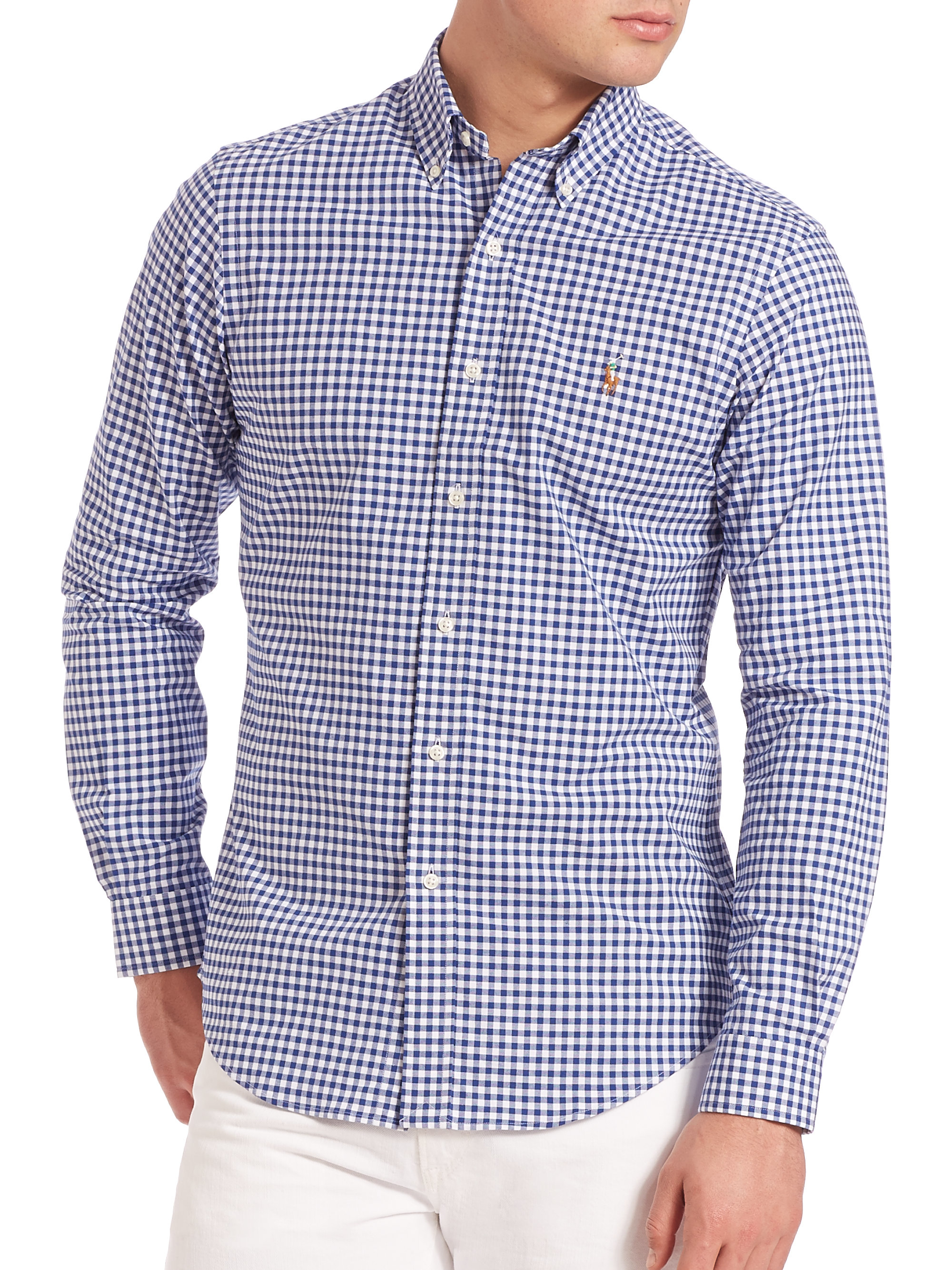 8a296ed1ad Polo Ralph Lauren Slim-fit Gingham Oxford Shirt in Blue for Men - Lyst