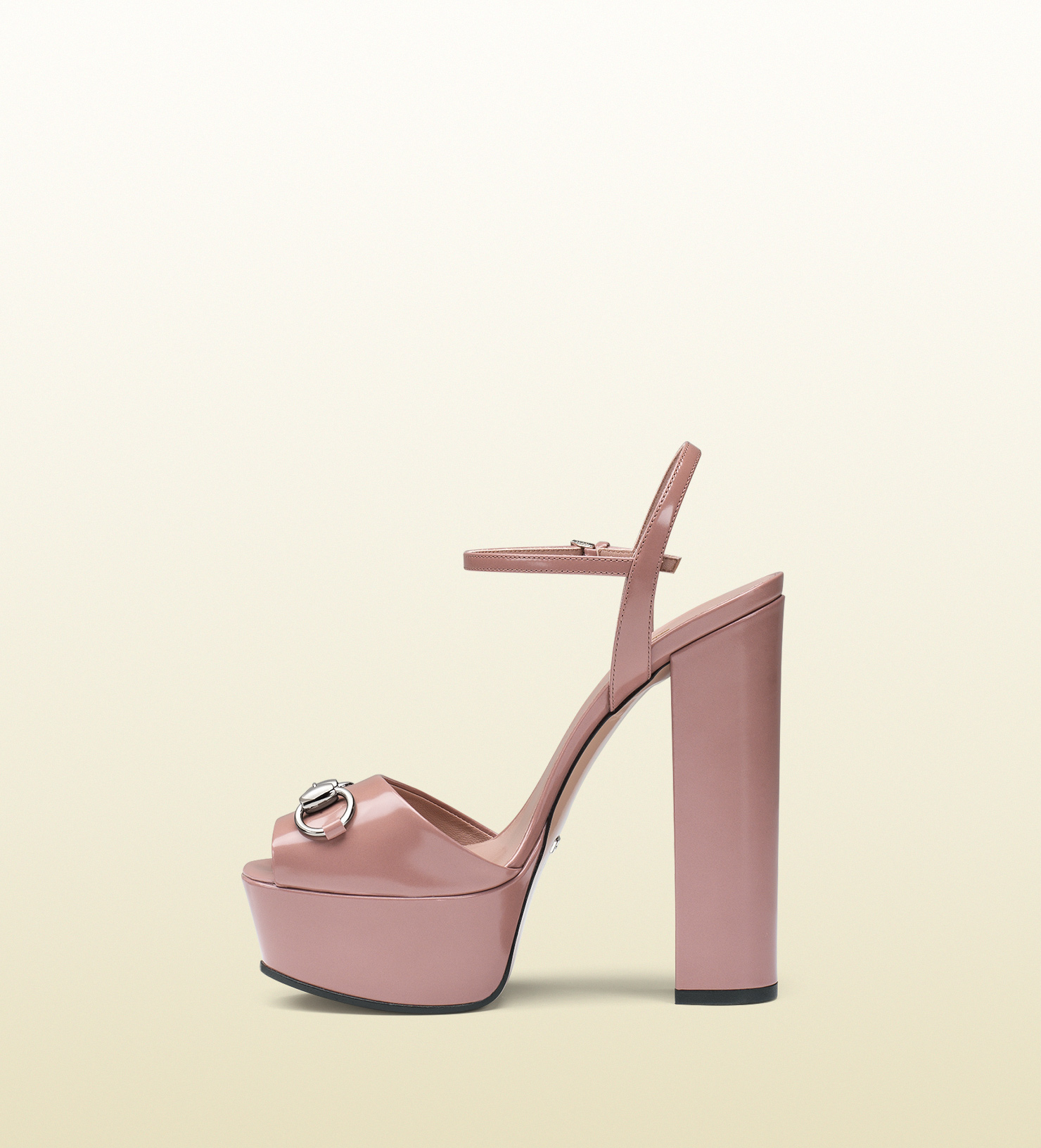 e8fbe94f3fa9 Lyst - Gucci Leather Platform Horsebit Sandal in Pink