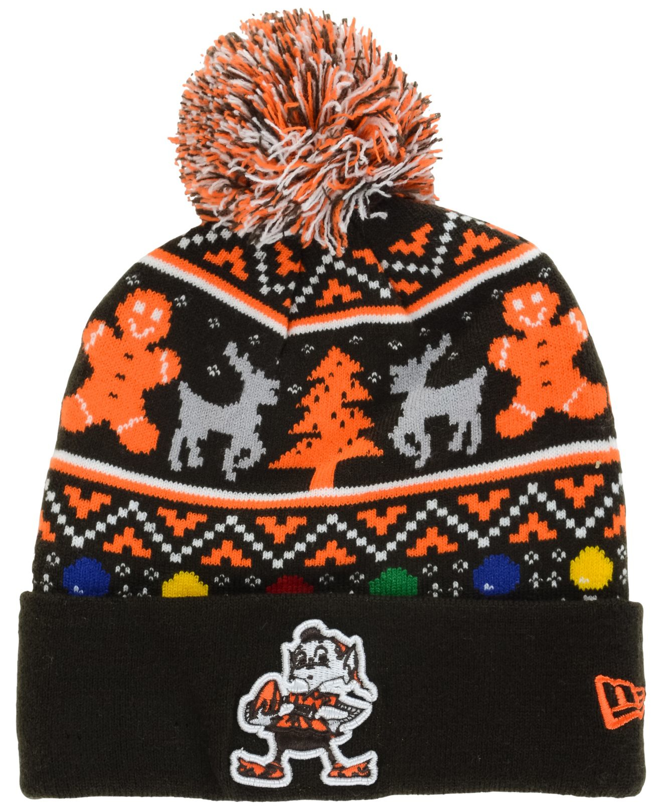 Cleveland Browns Christmas Sweater.Ktz Multicolor Cleveland Browns Christmas Sweater Pom Knit Hat For Men