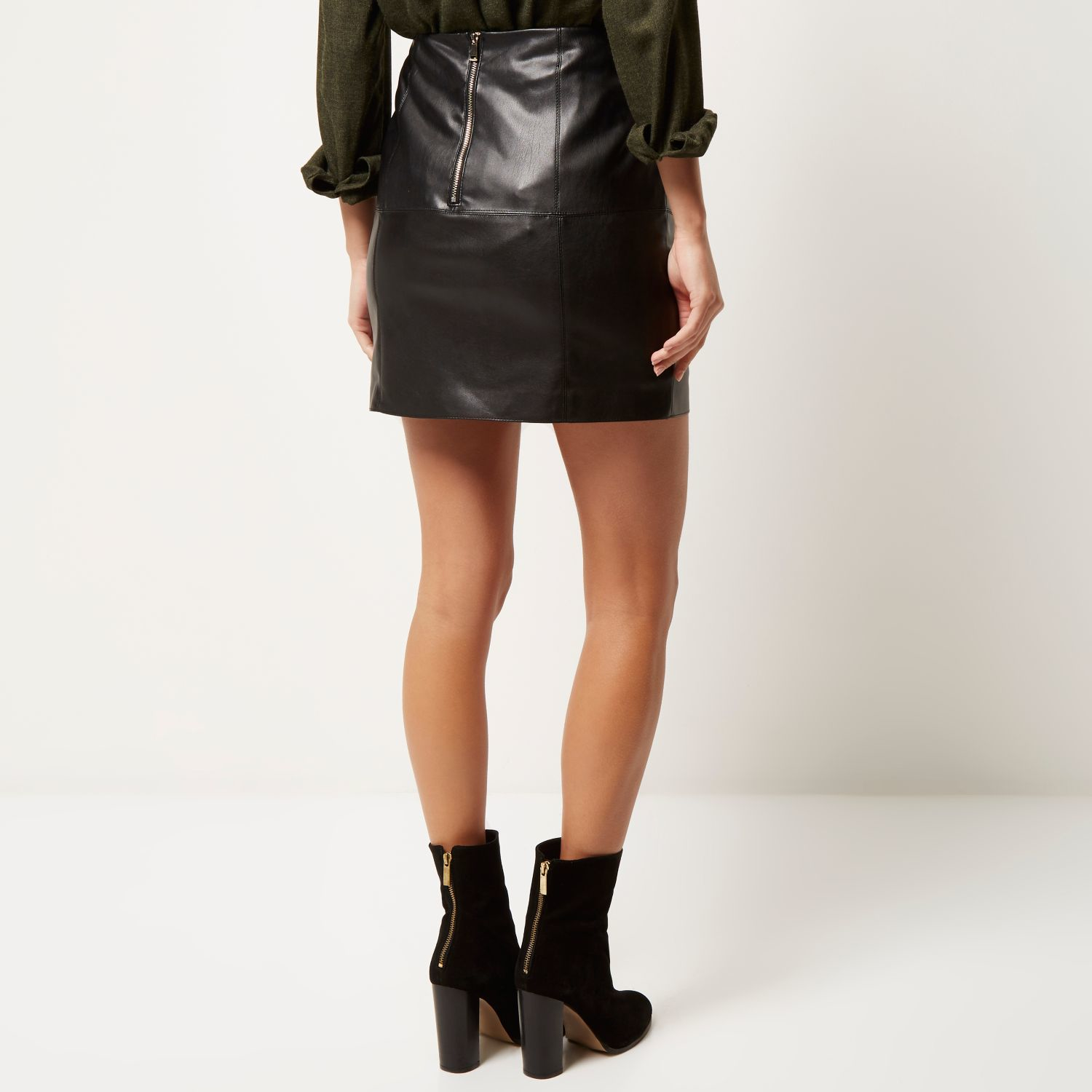 Black Leather Look Mini Skirt - Dress Ala